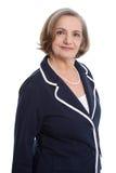 Signora anziana felice - donna più anziana isolata su fondo bianco fotografia stock libera da diritti