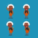 Signora anziana Nonna in 4 pose differenti Fotografia Stock