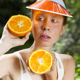Signora arancio Immagini Stock Libere da Diritti