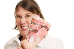 Signora arrabbiata dei soldi Fotografie Stock Libere da Diritti