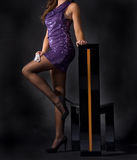 Signora attraente in vestito dentellare Fotografia Stock