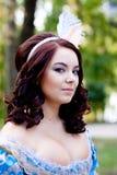 Signora in azzurro Fotografia Stock