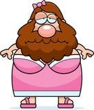 Signora barbuta del fumetto triste Immagini Stock Libere da Diritti