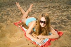 Signora On The Beach Fotografia Stock Libera da Diritti