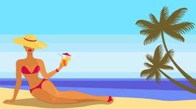 Signora in bikini illustrazione vettoriale