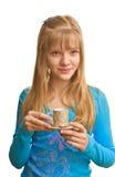 Signora bionda e una tazza di tè Fotografie Stock Libere da Diritti