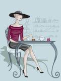 Signora in caffè Fotografia Stock