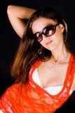 Signora in camicetta rossa Fotografia Stock
