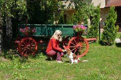 Signora, cane e vagone Fotografia Stock