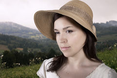 Signora in cappello Immagini Stock