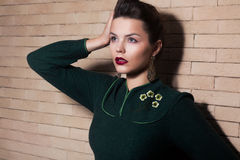 Signora castana elegante imponente - femminilità ed armonia Fotografia Stock Libera da Diritti