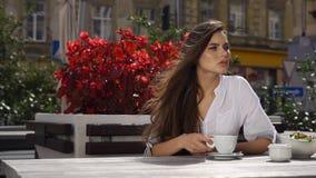 Signora castana scrive qualcosa in suo telefono mentre si siede nel ristorante prima dei fiori rossi video d archivio