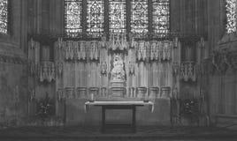 Signora Chapel Altar nella cattedrale BW di pozzi fotografia stock libera da diritti
