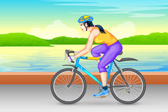 Signora che cicla per la forma fisica illustrazione di stock