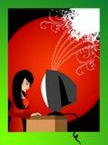 Signora che lavora al calcolatore Immagini Stock Libere da Diritti