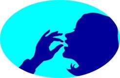 Signora che mangia medicina Fotografia Stock