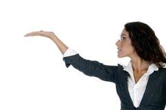 Signora che mostra gesto di mano Fotografia Stock
