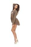 Signora che propone in maglione e biancheria su bianco Fotografia Stock Libera da Diritti