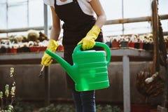 Signora che sta nella serra vicino alle piante con il vaso di versamento Fotografia Stock