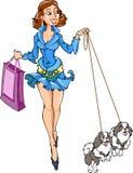 Signora con i cani Fotografie Stock