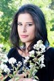 Signora con i fiori Fotografie Stock