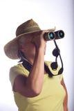 Signora con il binocolo fotografie stock libere da diritti