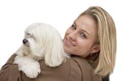 Signora con il cane Immagini Stock Libere da Diritti
