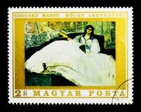 Signora con il fan da Manet, pitture dal serie della Francia, circa 1969 Immagine Stock Libera da Diritti