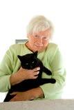 Signora con il gatto Fotografie Stock