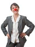 Signora con il radiatore anteriore rosso Fotografie Stock