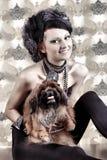 Signora con il suo cane Fotografia Stock Libera da Diritti