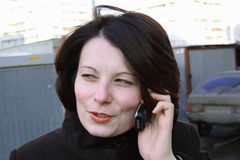 Signora con il telefono mobile Immagine Stock Libera da Diritti
