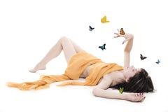 Signora con la farfalla fotografie stock libere da diritti