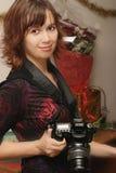 Signora con la macchina fotografica Fotografia Stock