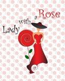 Signora con una rosa Fotografia Stock