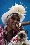 Signora cubana del sigaro Fotografia Stock