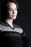 Signora dai capelli delicata del Brown Fotografia Stock