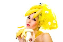 Signora della banana Fotografia Stock