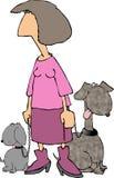 Signora dentellare con 2 cani royalty illustrazione gratis
