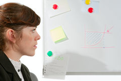 Signora di affari ad un whiteboard Immagine Stock Libera da Diritti