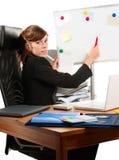 Signora di affari ad un whiteboard Immagini Stock Libere da Diritti