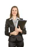 Signora di affari con i dispositivi di piegatura. Isolato su bianco Immagine Stock Libera da Diritti