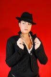 Signora di affari con il cappello. fotografia stock