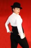 Signora di affari con il cappello. fotografie stock