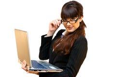 Signora di affari con il computer portatile immagine stock libera da diritti