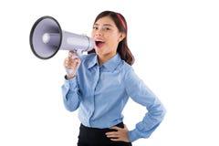 Signora di affari con il megafono Fotografia Stock