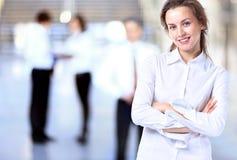 Signora di affari con lo sguardo positivo Fotografia Stock