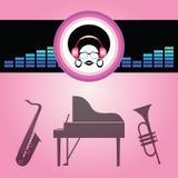 signora di afro ascolta musica morbida illustrazione vettoriale