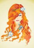 Signora di autunno con i fiori Immagine Stock