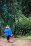 Signora di Colombian dell'agricoltore che cammina nelle montagne Fotografia Stock